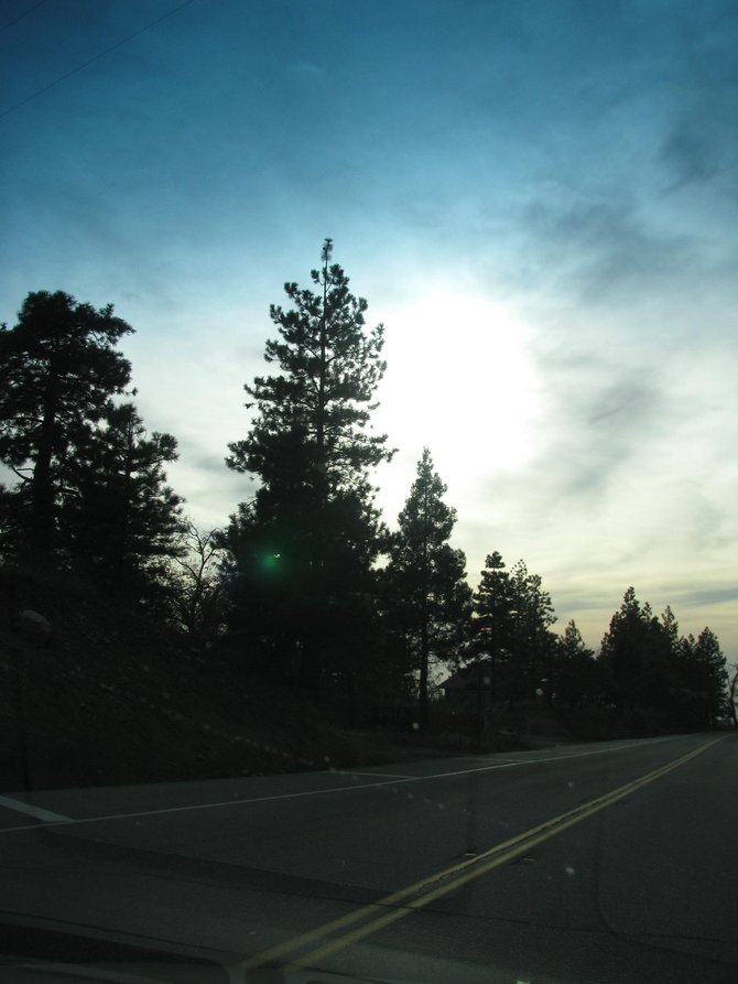 Driving up the mountain to Big Bear