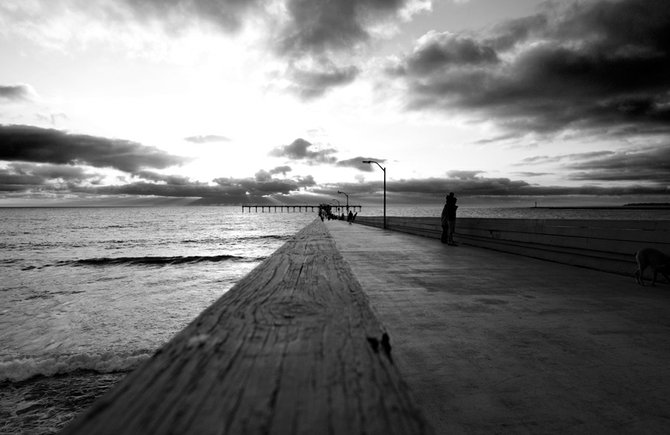 Father & Son, Ocean Beach Pier at sunset. - photo by Mike Smartt