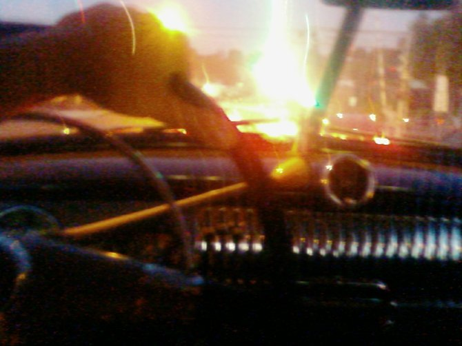 I took this picture last night while driving in Lemon Grove. The traffic lights had just changed at the intersection of Mass. and LG Blvd. I was driving my 1952 Chevrolet.