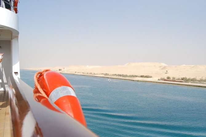 Picture taken from a ship while sailing through Suez Canal. The journey took a whole day (and a whole night) to complete.