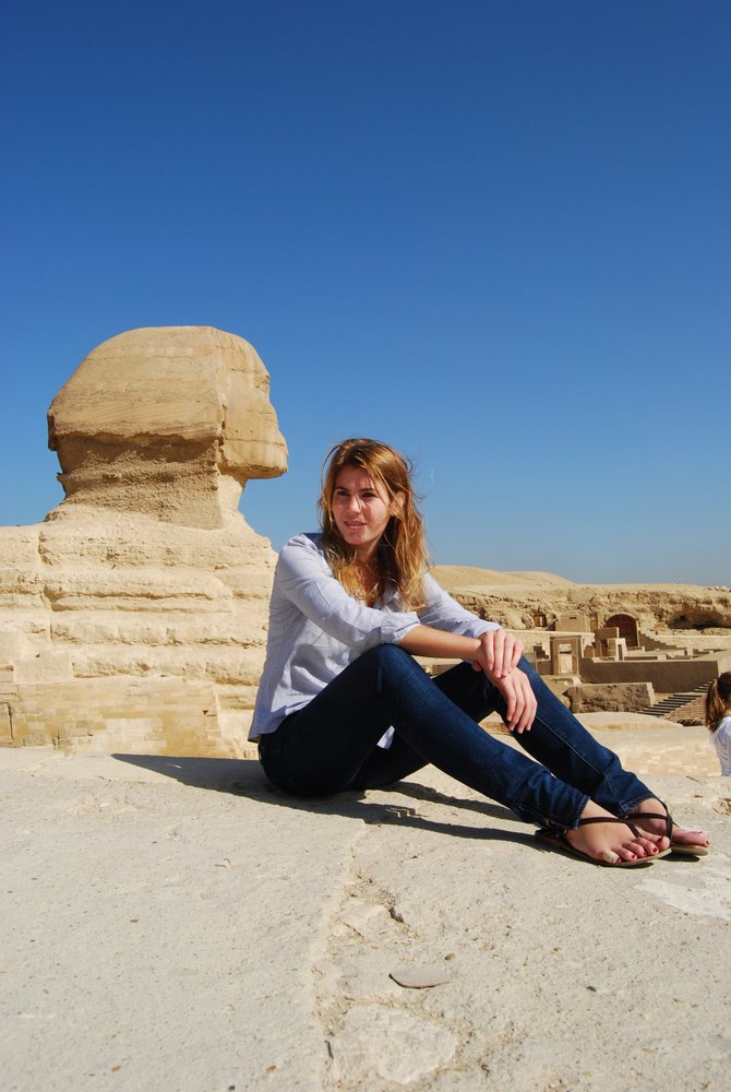 Picture of myself, the Sphinx is behind me and it is shockingly smaller than I had anticipated!  (Giza, Egypt)