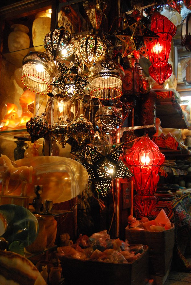 Lanterns for sale at a night market in Cairo.