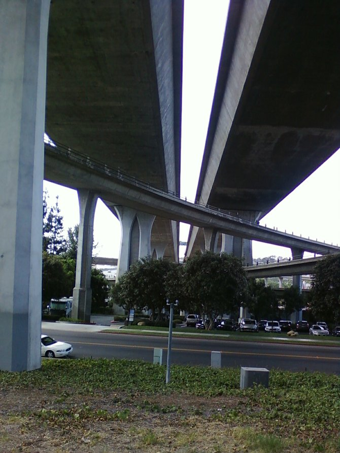 Under the Senator Jack Schrader Bridge, 805 over Camino del Rio South