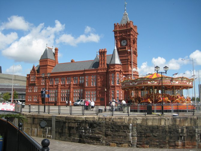 Photo of the Cardiff Coal Exchange and carousel at Cardiff Bay in Cardiff, Wales.