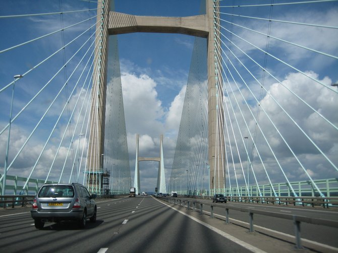 Our first day in the UK, driving across the New Severn Bridge into Wales.
