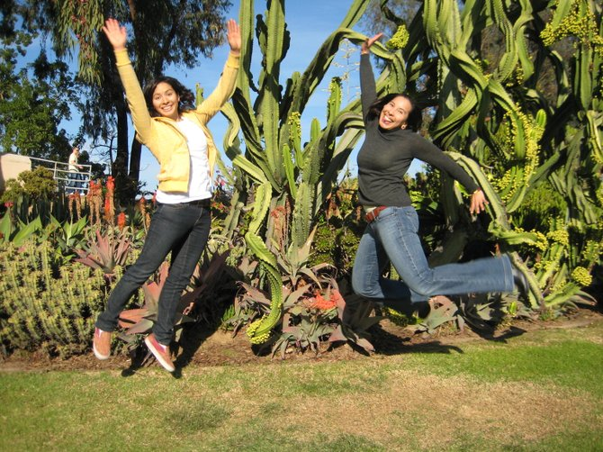 My sister and I falling into a giant cactus.