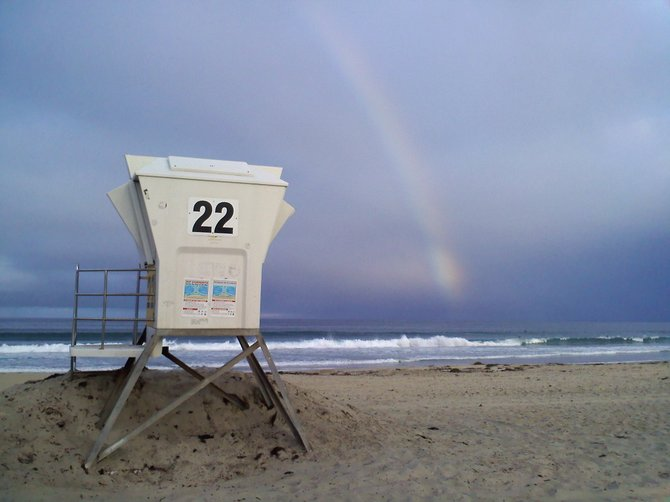 Giant rainbow over the ocean after a rain