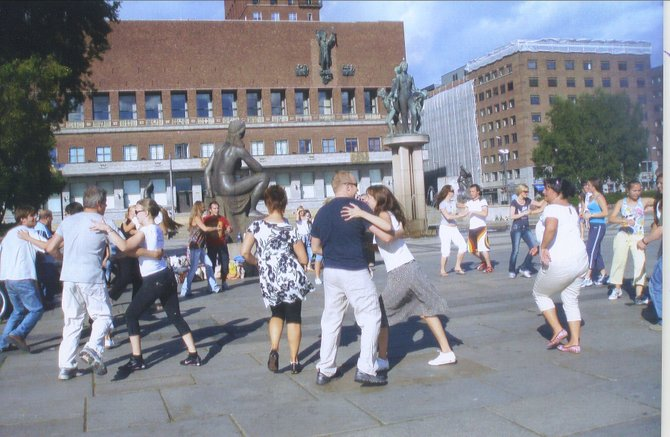 Dancing alongside city hall in Oslo, Norway.
