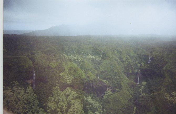 "Taken from a helicopter over Kauai ""the garden island"""