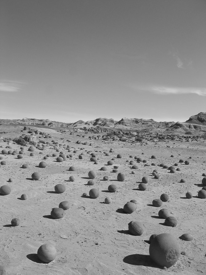 """Cancha de bolas"" or the bowling alley.  Naturally formed, round rocks the size of bowling balls are just one of many strange formations in North Eastern Argentina's Valley of the Moon."