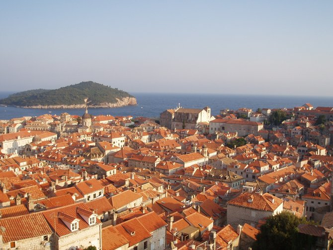 Beautiful view from the medieval wall surrouding Dubrovnik, Croatia.