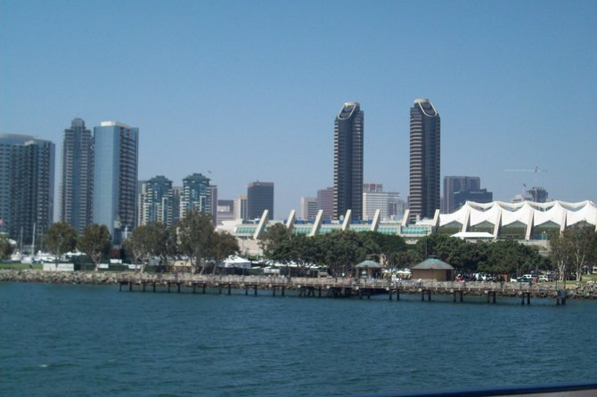 A picture of downtown San Diego taken from a boat ride on the harbor.