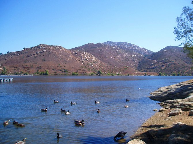 Poway Lake: soothing, calm, beautiful! Poway lake is a great place to go for an invigorating hike or to enjoy a picnic under the shady sycamore and pine trees on its grassy hillsides. There are plenty of tables and barbecues and there is even a covered deep pit barbecue that is available by appointment. It's great for large groups and parties. If you don't want to cook, they have a nice little grill restaurant overlooking the lake that serves burgers, fries and shakes. You can't swim in Lake Poway, as it is a drinking water reservoir, but you can fish from the dock or take a motorboat or paddle boat out onto the water. I think it's the prettiest lake in San Diego County.