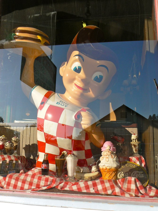 The window of Miner's Diner, an original old fashioned soda fountain, Julian, CA