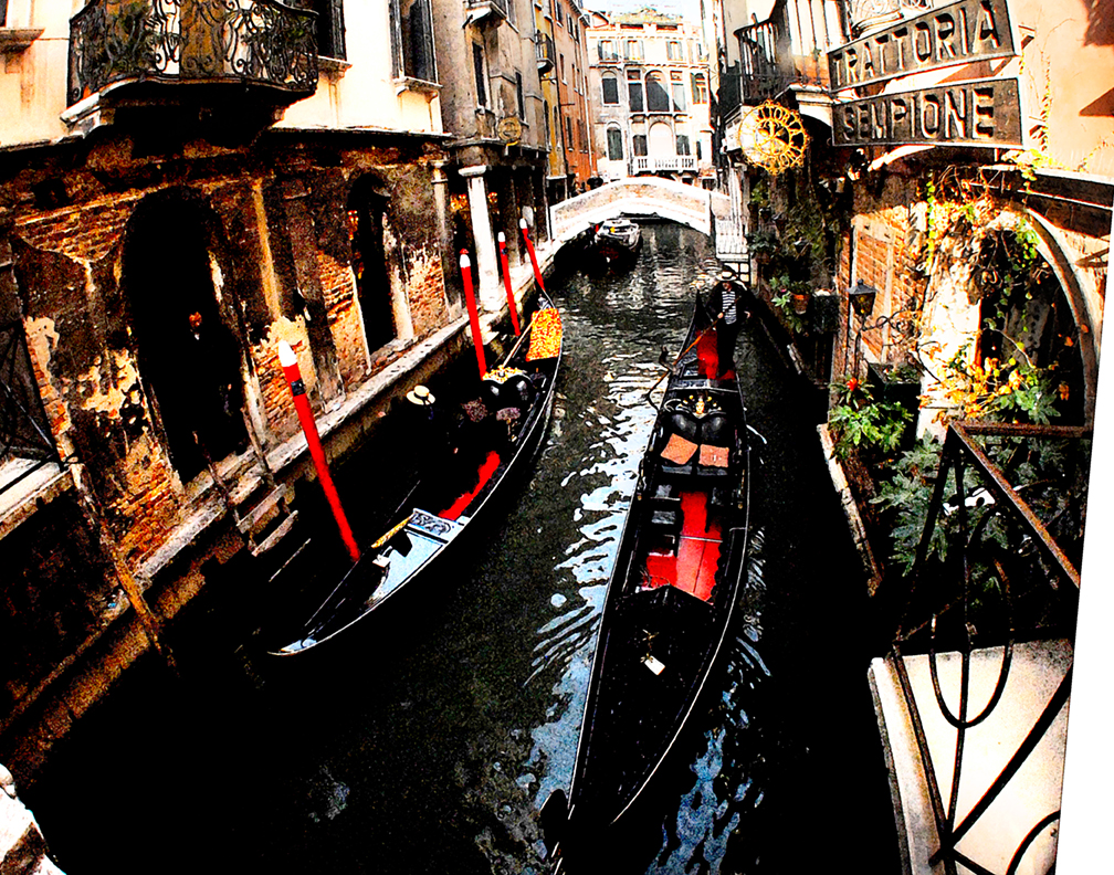 The gondolas pass each other with precision in Venice.