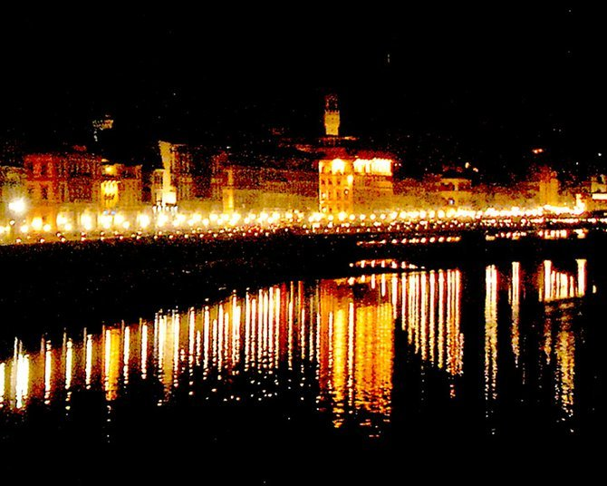 Looking towards the Ponte Vechio at night