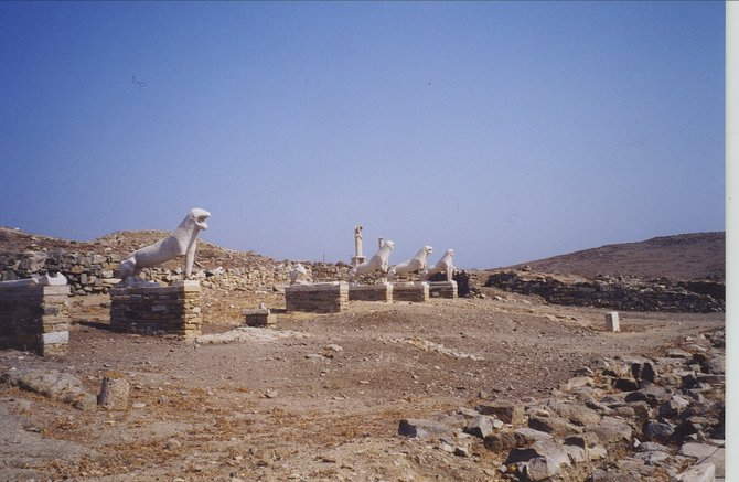 Some ruins on Delos, an island that was a key trading center during ancient times.