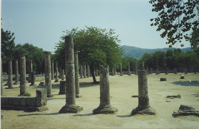 Ruins of a structure in Olympia, Greece  where ancient Olympic competitions took place.