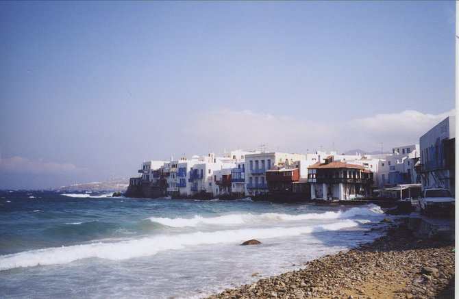 Mykonos. Touristy? yes   party island? yes.. but a lovely, lovely place. A must stop in the Greek Islands.