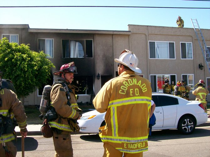 Fire fighters from Chula Vista, Coronado, Imperial Beach, and San Diego responded to an apartment house fire in Imperial Beach. The fire destroyed two units displaced 6 adults and 3 children.