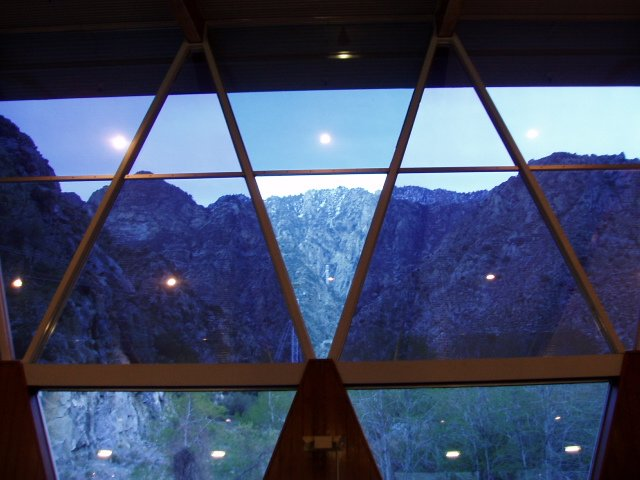 This stunning glass mosaic window is one of several inside the mid-century modern Valley Station of the Palm Springs Aerial Tramway. It looks out towards Chino Canyon, the chasm that is the pathway for the tram. In a short 10 minute ride, you will be whisked from a starting elevation of 2,643 feet at Valley Station, to the dizzying height of 8,516 feet at Mountain Station. On the 2.5 mile journey, you may experience a drop in the temperature from five to twenty degrees depending upon the time of year you go. As you ascend from the desert floor to the snowy mountains above, you will pass through several geological and climatic zones. It's an exhilarating thrill ride towards the top of Mt. San Jacinto peak while you travel in a 360 degree revolving tram car. Driving into Palm Springs, you will pass the Palm Springs Visitors Center, another fine example of mid century architecture. The Visitors Center at 1 Tramway Road, originally created as an Enco gas station, was constructed in 1965. It was designed by Albert Frey and Robson C. Chambers, who also designed the Valley Station, and serves as the entrance to the tramway.