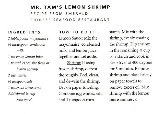 Mr. Tam's Lemon Shrimp