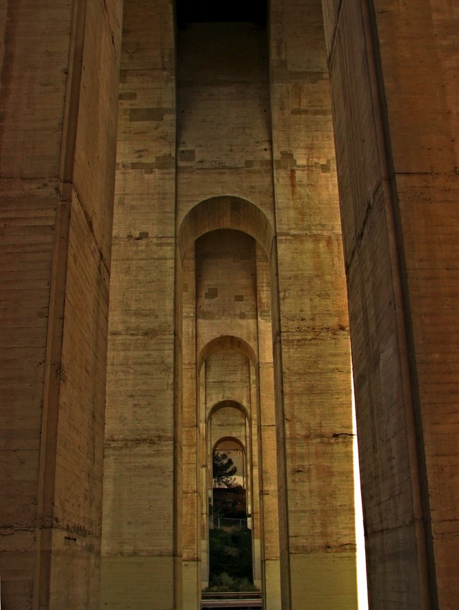 Under the Cabrillo bridge in Balboa Park.