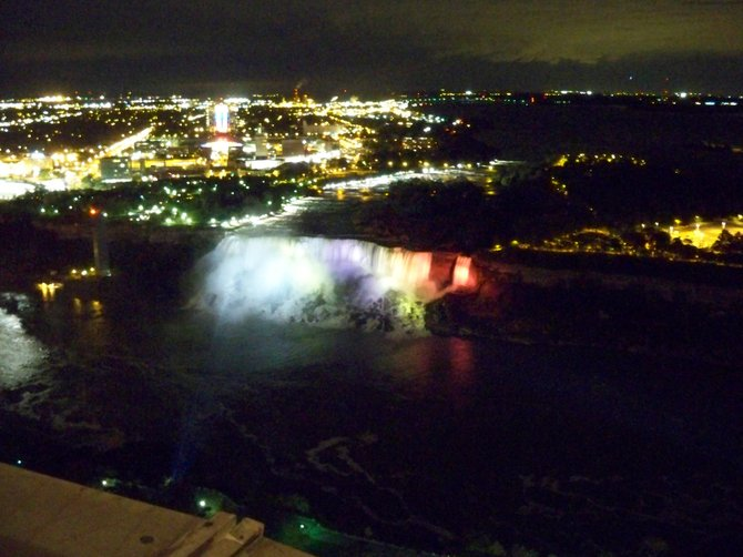 The American and Bridal Veil Falls are lit up each night with lights shining from the Canadian side of the border