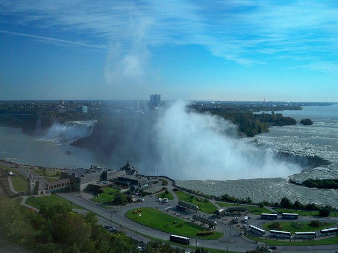 View of Niagara Falls from the Sheraton Fallsview Hotel on the Canadian side of the border.