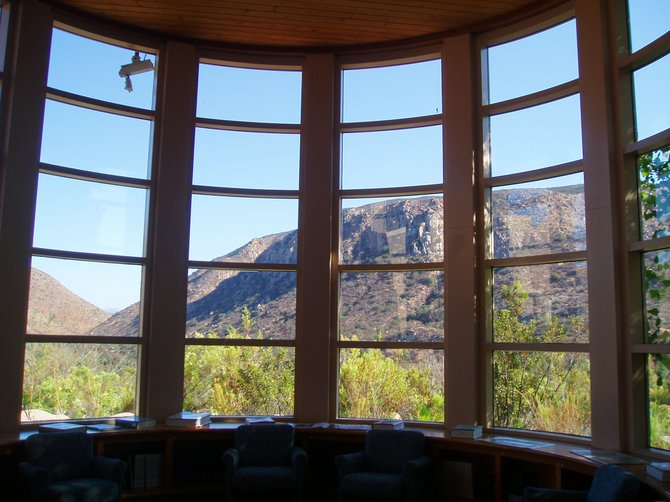 A view from inside the library at the visitors center at Mission Trails Regional Park.