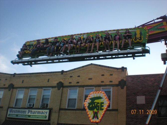 "Riding ""The Edge"" at the Westmont Illinois Taste of Westmont street festival."