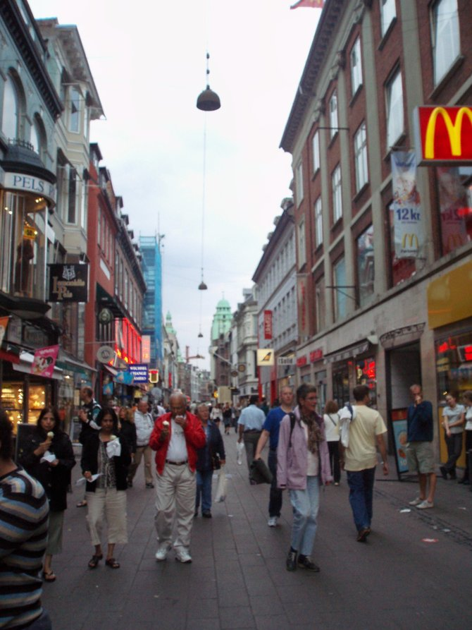 The Stroget pedestrian district in Copenhagen. There's no escaping the golden arches.