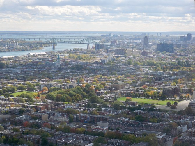 View looking south towards Downtown from the tower at the Olympic Stadium in Montreal