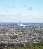 The Olympic Stadium as seen from atop Mont Royal Park in Montreal.