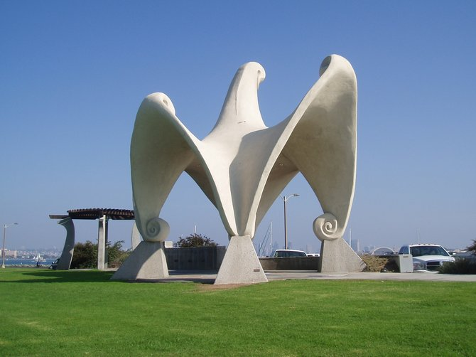 """Pacific Portal"" a sculpture by James Hubbell at Shelter Island."