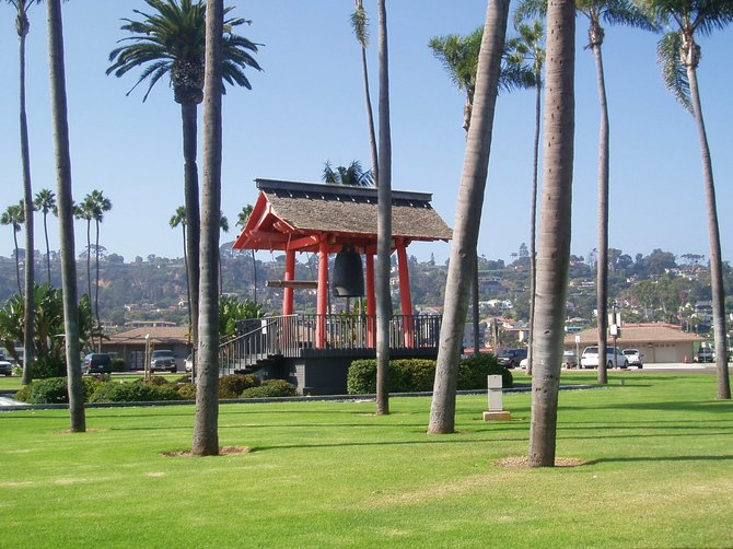 This is the Yokahama Friendship bell on Shelter Island. Created by Masahiko Katori, the bell was presented to the city of San Diego by the Japanese city of Yokahama in 1958 to celebrate the joining of our two cities as sister cities.