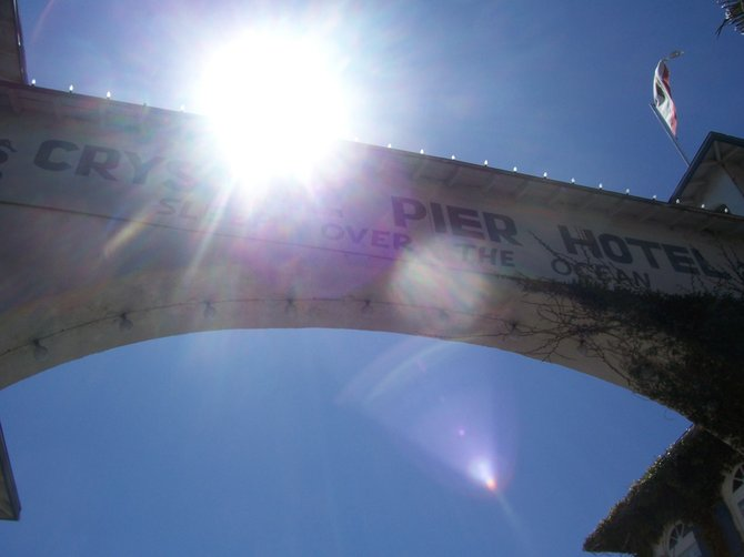 A  look of the Crystal Pier entrance from below. The sun was shining that day and gave an unusual effect to the picture.