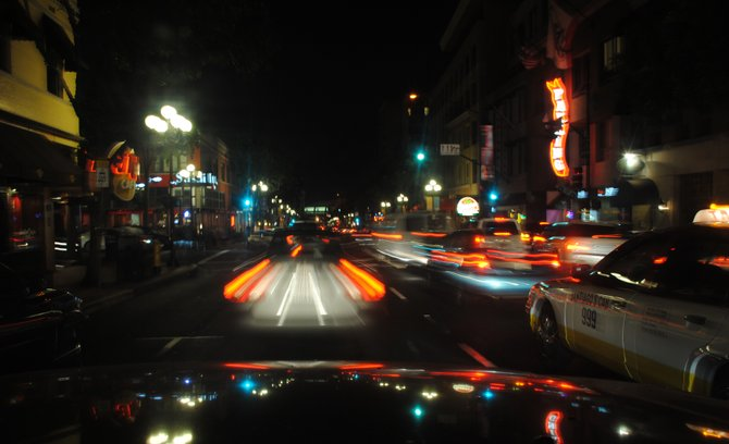 Downtown Driving thru Gaslamp at Night