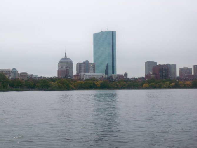 The John Hancock tower as seen from a Duck Boat tour floating on the Charles River.