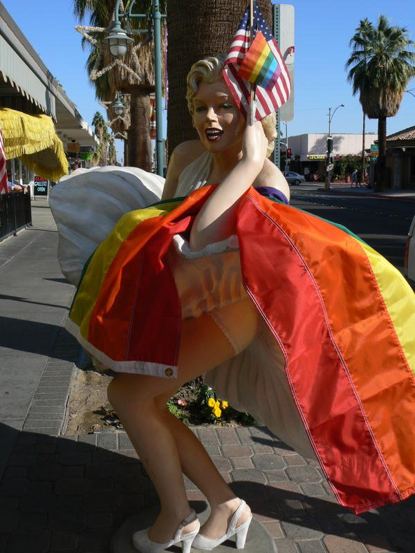 Marilyn, catching a gust of desert wind, Pinocchio's Restaurant, Palm Springs, CA