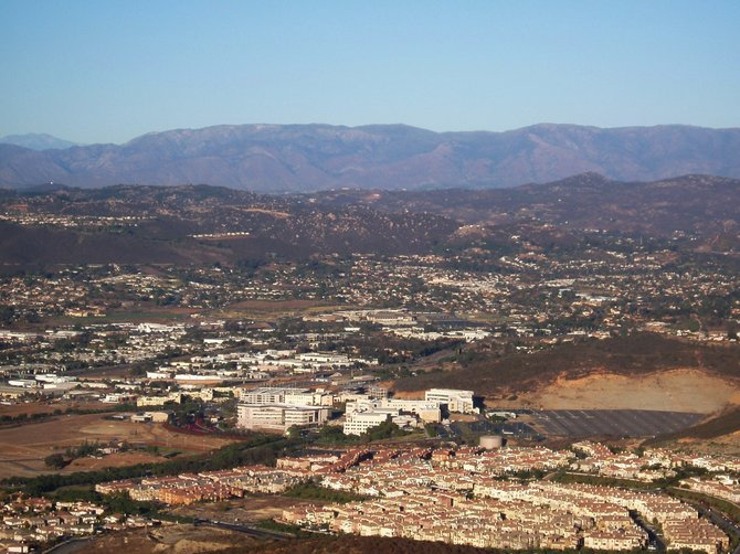 This is an aerial photo of Cal State San Marcos, Thanksgiving day 2009, taken from Double Peak Park in San Marcos. The air was so clear that you could see all the way to Mt. Palomar.