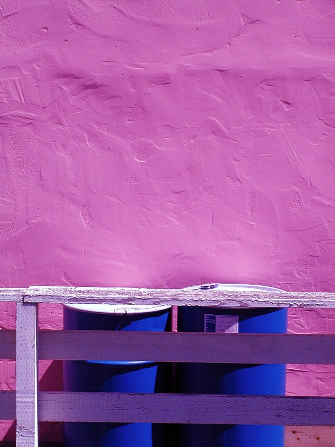 Pink Wall, Blue Barrels: Old Fisherman's Wharf, Monterey, CA