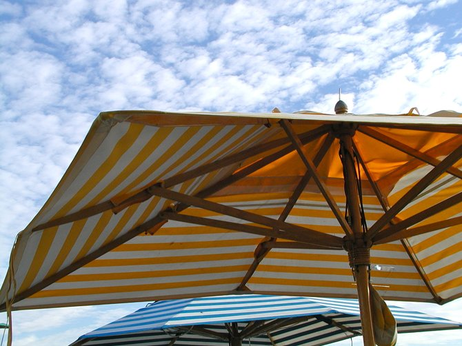 Under the Striped Umbrellas, Al Fresco Oceanfront Dining, Zelda's, Capitola-by-the-Sea, CA