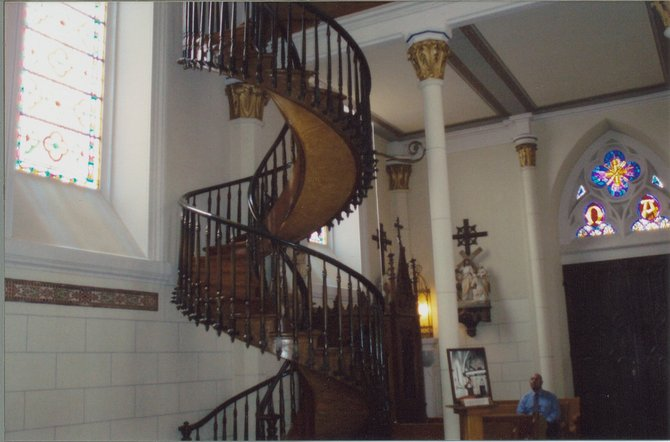 The spiral staircase in the Loreto Chapel in Santa Fe.