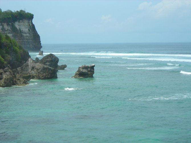 View of surfbreak Temples at Uluwatu, Bali