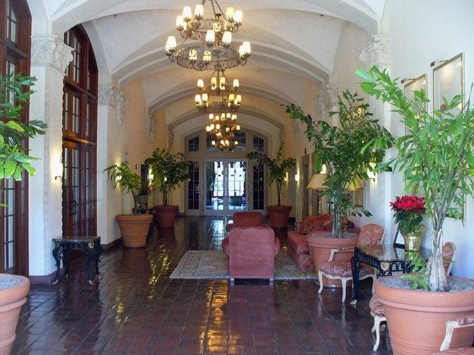 Lobby of the El Cortez condos building, taken through a window.