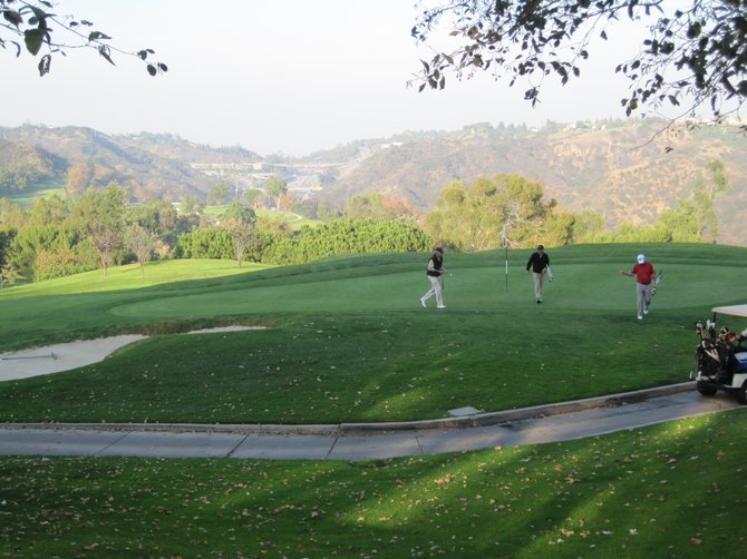 A distant view of the 405 and the hills of West LA from Mountain Gate Country Club Golf Course in Bel Air.