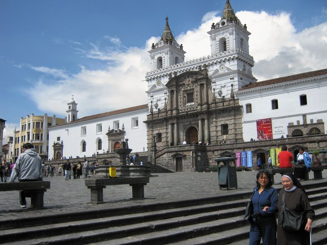 Construction began on the Church de San Francisco in Quito, Ecuador just a month after the Spanish arrived in 1535. It took over a hundred years to build. The church was built over the site of an Inca temple.