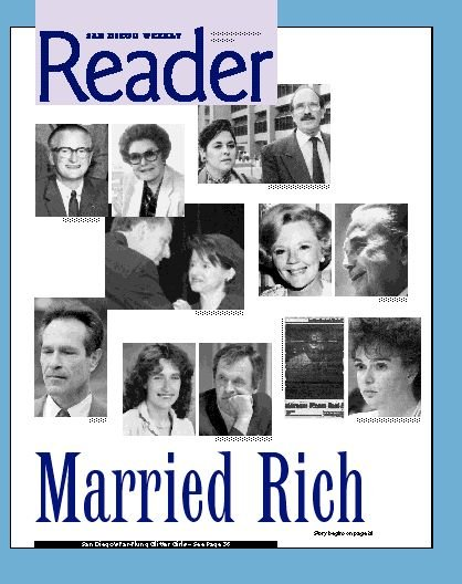Left to right, top to bottom: James and Helen Copley, Susan Golding and Richard Silberman, Scott Peters and Lynn Gorguze, Joan and Ray Kroc, Alan Bersin, Frances Hellman and Robert Dynes, Robert Peterson and Maureen O'Connor