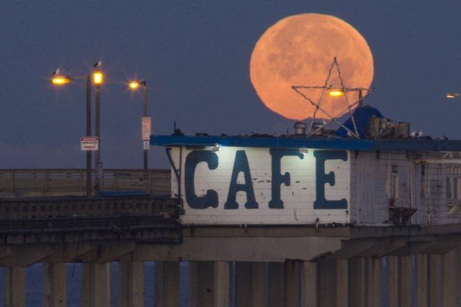 Blue Moonset at Sunrise